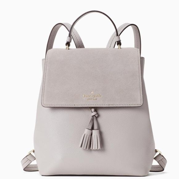 Kate Spade Hayes Suede Medium Backpack Soft Taupe